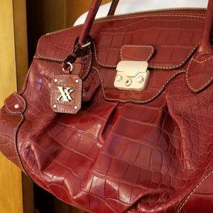 MAXX New York Burgundy Genuine Leather JUMBO Bag